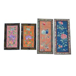 Large Group of Chinese Embroidered Panels.