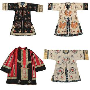 Four Chinese Embroidered Silk Robes.