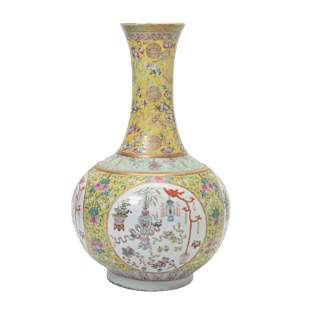 Yellow-Ground Famille Rose Porcelain Vase.