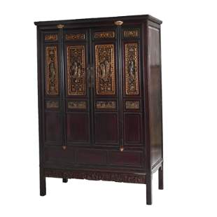 Chinese Carved and Lacquered Four-Door Cabinet.