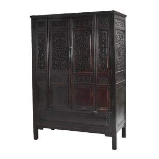 Chinese Carved Four-Door Dragon Motif Cabinet.