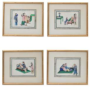 Set of Four Chinese Export Paintings on Pith Paper.
