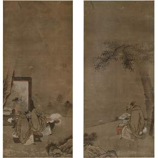 Pair of Japanese Painting Scrolls in Wood Box.