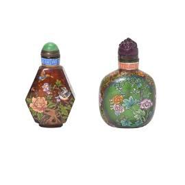 Two Enameled Glass Snuff Bottles.