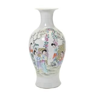 Chinese Famille Rose Figural Baluster Vase.