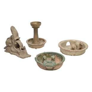 Four Han Dynasty Glazed Pottery Items.