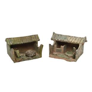 Two Han Dynasty Pottery Architectural Models.