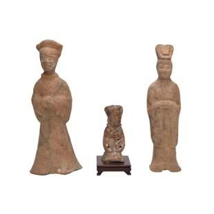 Three Han Dynasty Pottery Funerary Figures.