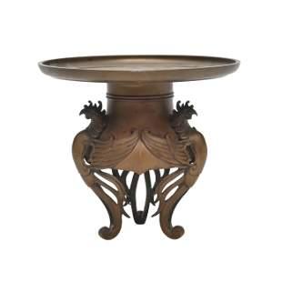 Japanese Gilt Bronze Phoenix Motif Stand
