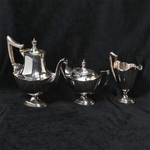 Gorham Three Piece Sterling Silver Tea Service.