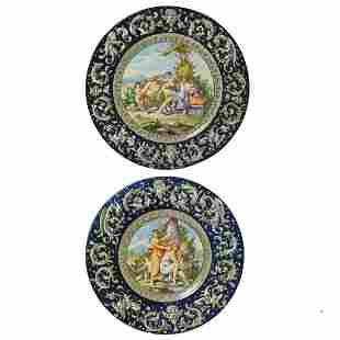 Two Italian Majolica Chargers by Mollica Capidomonte