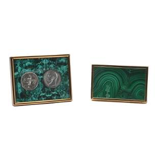 Malachite Box and Soviet Coins in Frame.