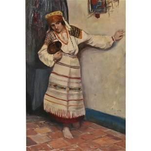 """Zdenko Pokrupa """"Portrait of a Woman"""" oil on board"""