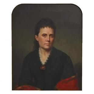 "American School ""Portrait of a Woman"" oil on canvas"