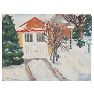 "William John Hopkinson ""House in the Snow"" oil on board"