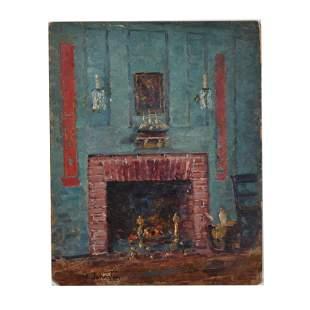 "Manner of Frank (Franz) Hans Johnston ""Interior"" oil on"