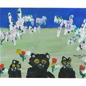 """Style of Maud Lewis """"Cats in the Grass"""" oil on board"""