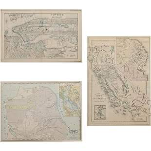 Vintage Copper Engraved Maps, California, New York,