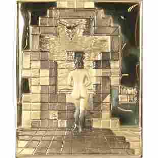 """Salvador Dali """"Lincoln in Dalivision"""" 18k gold bas"""