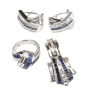 Sapphire, Diamond, 14k White Gold Jewelry Suite.