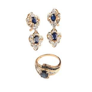 Sapphire, Diamond, 14k Gold Jewelry Suite.
