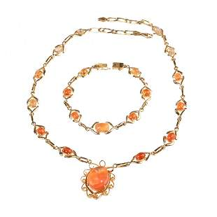 Fire Opal, 14k Yellow Gold Jewelry Suite.