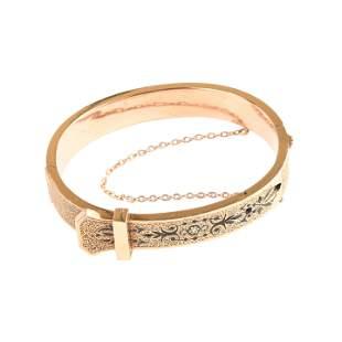 Victorian Black Enamel, 14k Yellow Gold Bracelet.