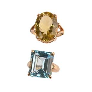Collection of Two Blue Topaz, Quartz, 9k Yellow Gold