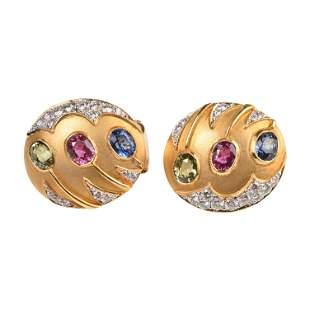 Pair of Sapphire, Ruby, Diamond, 20k Yellow Gold
