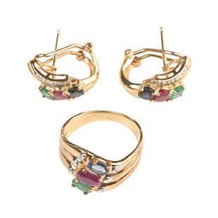 Multi-Stone, Diamond, 14k Yellow Gold Jewelry Suite.