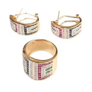 Ruby, Sapphire, Emerald, Diamond, 14k Gold Jewelry