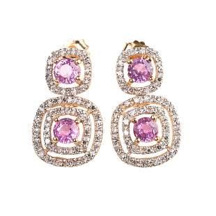 Pair of Pink Sapphire, Diamond, 18k Gold Earrings.