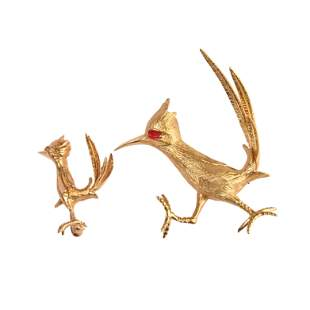 Collection of Two Enamel, Yellow Gold Roadrunner