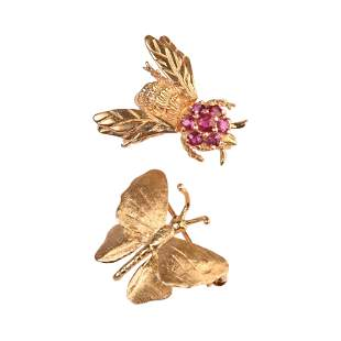 Collection of Two Ruby, 14k Yellow Gold Bug Brooches.