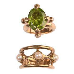 Collection of Two Peridot, Cultured Pearl, 9k Yellow