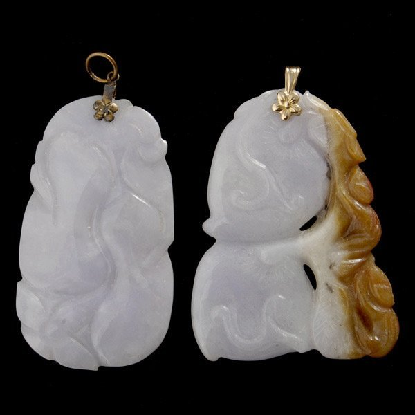 2: TWO CARVED JADE, 14K YELLOW GOLD, METAL PENDANTS