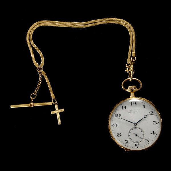 181: LONGINES 18K YELLOW GOLD OPEN-FACE POCKET WATCH.