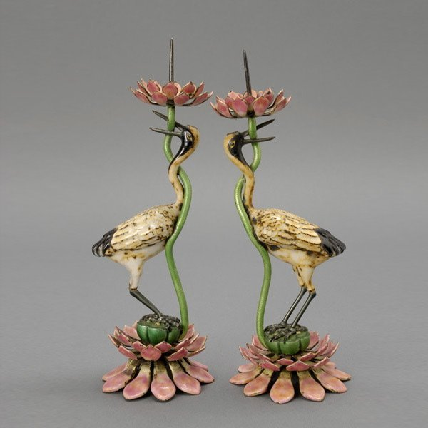 378: Pair Chinese Enamel Crane Candle Holders, Qing Dy
