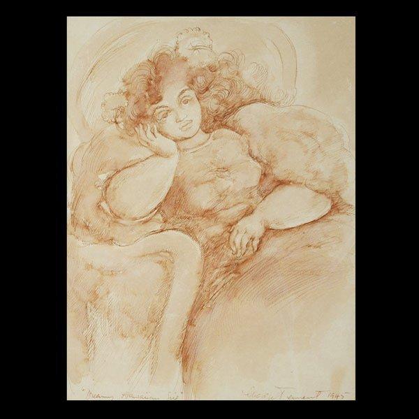 522: Madge Tennent, Hawaiin girl, ink wash