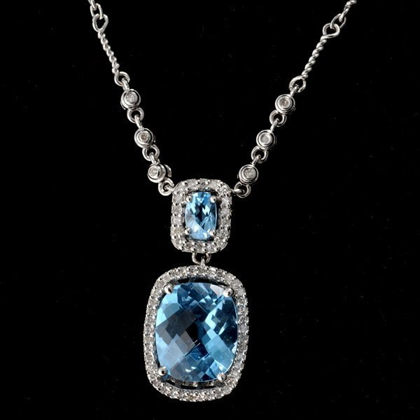 9: BLUE TOPAZ, DIAMOND. 14K  WHITE GOLD NECKLACE.