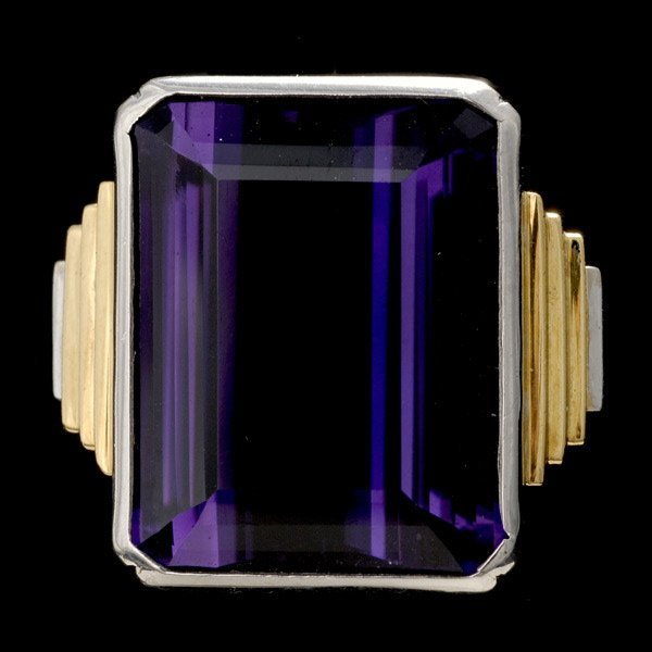 18: AMETHYST, 18K TWO-TONE GOLD RING.