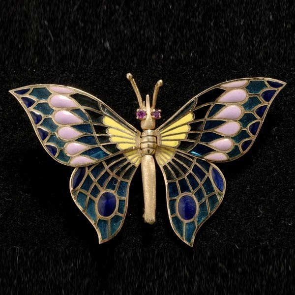 22: RUBY, ENAMEL, 18K YELLOW GOLD BUTTERFLY BROOCH.