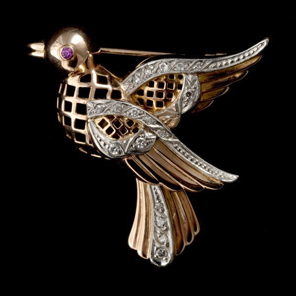 25: SYNTHETIC RUBY, DIAMOND, 14K ROSE GOLD BIRD BROOCH