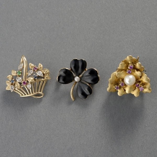27: THREE RUBY, PEARL, ENAMEL, GOLD BROOCHES