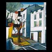 695: Rene Couturier, townscape, oil canvas
