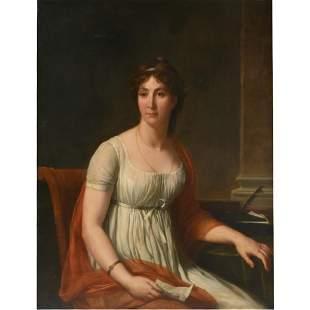 "Circle of Jacques Louis David ""Portrait of a Lady"" oil"