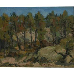 """Walt Francis Kuhn """"Landscape with Trees"""", 1928 oil on"""