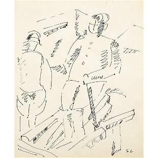 """Fernand Leger """"Figures"""" ink line drawing"""