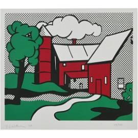 "Roy Lichtenstein ""Red Barn"" screenprint in colors"