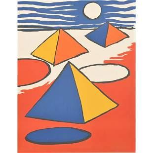 "Alexander Calder ""Pyramids at Night"" color lithograph"